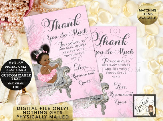 "Personalized Thank You Cards Baby Shower/ Pink and Silver Princess Party Printable/ Digital File Only! {3.5x5"" 4 Per/ Sheet}"