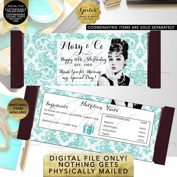 50th Birthday Candy Bars Personalized Wrapper Labels / Party Favors / Gifts Table Decorations / Audrey Hepburn. Any Event!