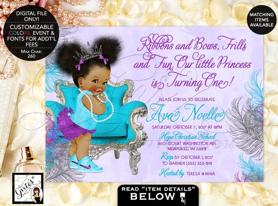 "Purple silver and turquoise First Birthday invitations | tiara baby girl afro puffs ribbons bows diamonds pearls. 7x5"" Afro Puffs. Gvites"