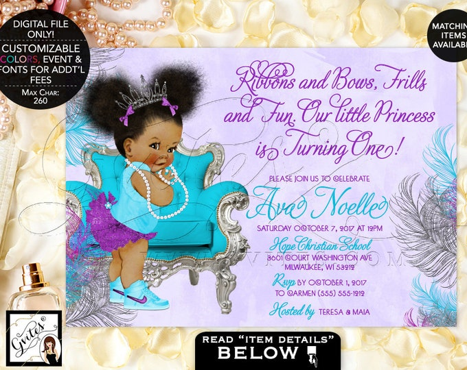"""Purple silver and turquoise First Birthday invitations, tiara baby girl, afro puffs, ribbons bows, diamonds pearls. 7x5"""" Afro Puffs. Gvites"""