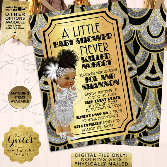 Gatsby Baby Girl African American Shower Invitations | Black Gold & Silver Vintage/1920s Flapper | Printable Party Invites 5x7 Double Sided
