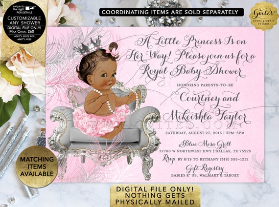 Pink Silver Baby Shower African American Princess Ribbons Bows Diamonds Girl | Digital/Printable JPG + PDF {Design: CWCHS-103} By Gvites
