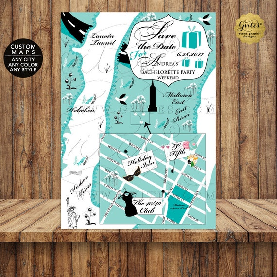 Breakfast at Tiffany's Themed Save The Date Personalized/ Illustration Any City/ State/ Any Color or Themed. Wedding Maps.