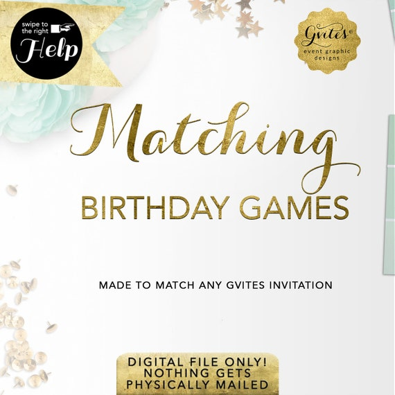 Matching Birthday Printable Games Add-on - To Coordinate with any Gvites invitation design.