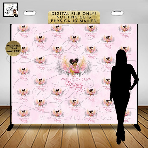 Step & Repeat Pink and Gold Baby Shower Backdrop Banner/ Photo Booth/ African American Princess Decor/ Digital. {Pink/ Silver/ Gold Feather}
