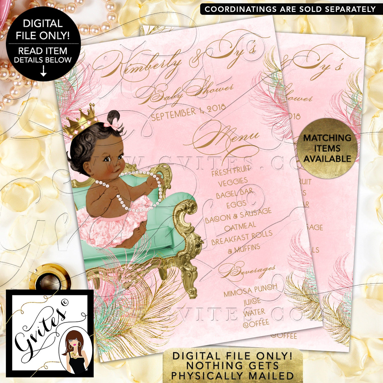 Baby Shower Program Agenda Cards Personalized Pink Mint Green