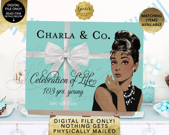 Welcome Sign/Poster 100th Birthday Banner Decoration/Audrey Hepburn Celebration of Life Birthday 100/103 Years Young African American