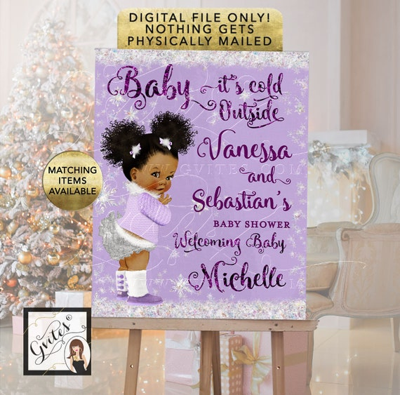 African American Baby Shower Welcome Sign Lavender and Silver - Baby its cold outside winter wonderland printable signs - Digital File Only!