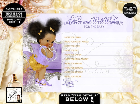 Advice Card For Baby Lavender Silver & Gold Baby Shower Wishes Card / Purple Shoes Afro Puffs African American Baby / Instant Download