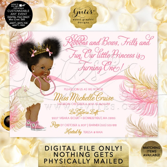 "Pink and Gold Baby First Birthday Invitation | Princess African American Afro Puffs Tiara | Ribbons Bows 1st invite 7x5"" Gvites"