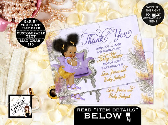"Thank You Baby Shower/ Lavender Purple Silver Gold/ African American/ Ribbons Bows/ Afro Puffs/ Chair/ Digital {5x3.5"" 4 Per/ Sheet} Gvites"