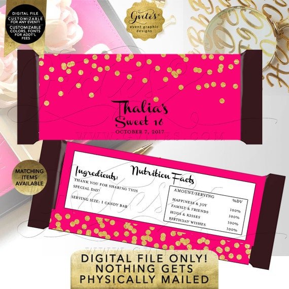 Candy Bar Wrappers Sweet 16 | Hot Pink & Gold Personalized Party Favors/Stickers/Labels/ | Printable JPG + PDF