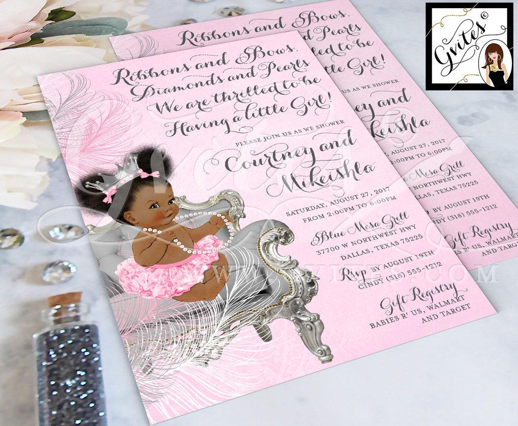 Princess Ruffle Pants Pink /& Silver Crown Tutu African American Baby Girl Puffs Bun Pearl Necklace Diamonds ethnic baby invitations