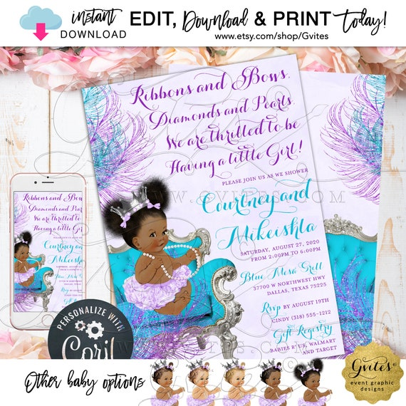 "Purple Turquoise Lavender Baby Shower Invitation Afro Puffs Princess | Ribbons Bows Diamonds & Pearls 5x7"" Double Sided. {Edit with Corjl}"
