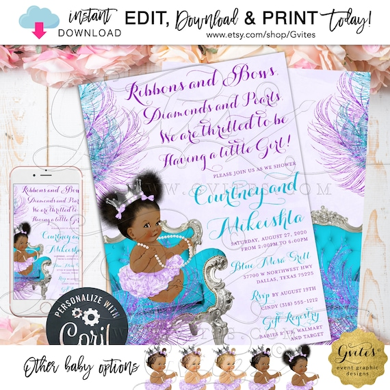 Edit YOURSELF with Corjl Purple Turquoise Lavender Baby Shower Invitation Afro Puffs Princess | Ribbons Bows Diamonds & Pearls 5x7""