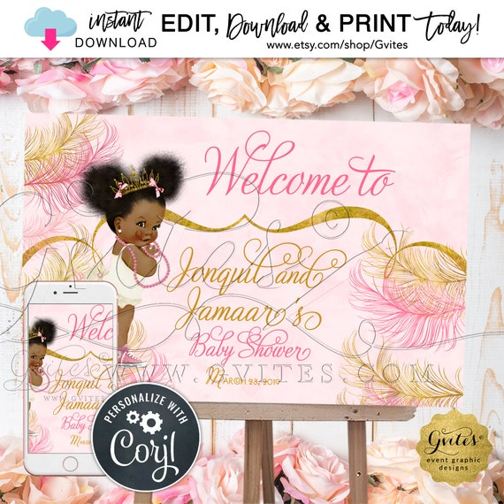 "Instant Download - Welcome Signs Baby Shower Printable Poster | Pink Glitter Gold | Edit TODAY  W/Corjl | {36x24"" / 18x12""}"