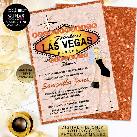 Bachelorette Party and Lingerie Shower in Fabulous Las Vegas. Printable File/DIY/ Double Sided 5x7""