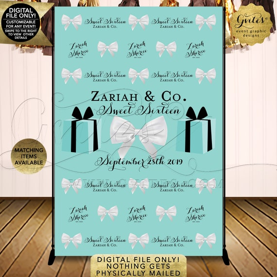 Sweet Sixteen Photo Backdrop | Turquoise/Robin Egg/Aqua Blue | Customizable Any Event | You Print/DIY/Printable/Digital. JPG + PDF.