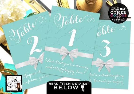 Turquoise Blue Custom Table Numbers Wedding Design Teal