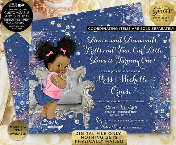 "Denim and Diamonds Birthday Invitation | Printable/Digital File Only! JPG + PDF Format | 7x5"" Double Sided 