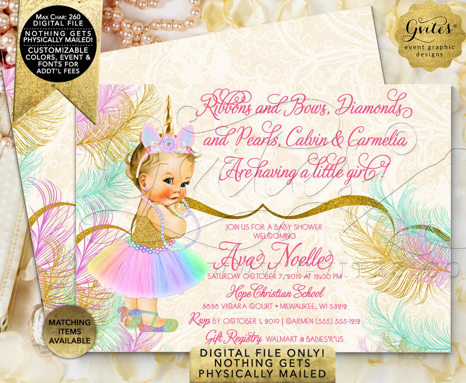 welcome unicorn princess baby shower sign | vintage baby girl ballet shoe rainbow colors | printable digital file | jpg + pdf fo