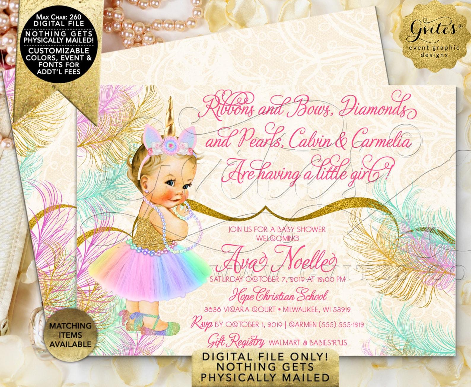 welcome unicorn princess baby shower sign   vintage baby girl ballet shoe rainbow colors   printable digital file   jpg + pdf fo