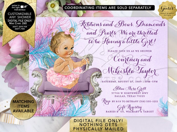 Pink Purple & Turquoise Baby Shower Invitations Ruffles Bows Pearls Tutus | Digital File JPG + PDF Format | Design: BSCNR-101 By Gvites