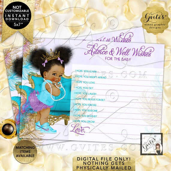 """Instant Download Purple Gold Advice for baby shower wishes lavender turquoise 