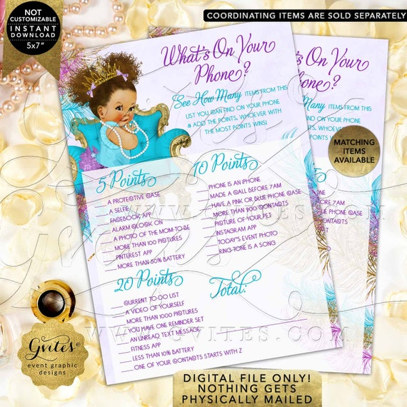 "What's On Your Phone Baby Game Purple Gold Turquoise | INSTANT DOWNLOAD Med/Puffs Curly | 7x5"" 2 Per Sheet  {TIACH-105}"
