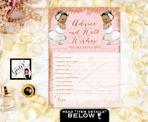 Advice Card For Twins Baby Shower African American Baby Girls/ Rose Gold & Blush Pink Tiaras White Lace Baby Princess DIY Digital File