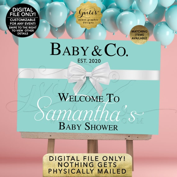 Baby and Co Welcome Sign. Customizable Text/Event/Fonts. Baby Shower Blue Theme Table Backdrop Decorations. DIY/Digital File Only!