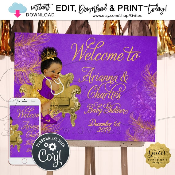 """Purple & Gold Welcome Sign Baby Shower Princess African American Afro Puffs Tiara 