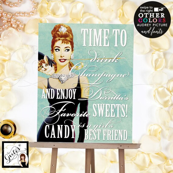 Candy Bar Audrey Hepburn Sign, Personalized Party Bridal Shower Decorations, Printable, DIY, Digital