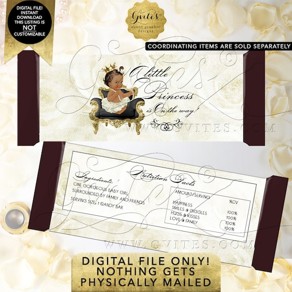 Candy Bar Wrapper INSTANT Download Princess African American Baby Shower | Med/Brunette Design: WHRST-102 By Gvites