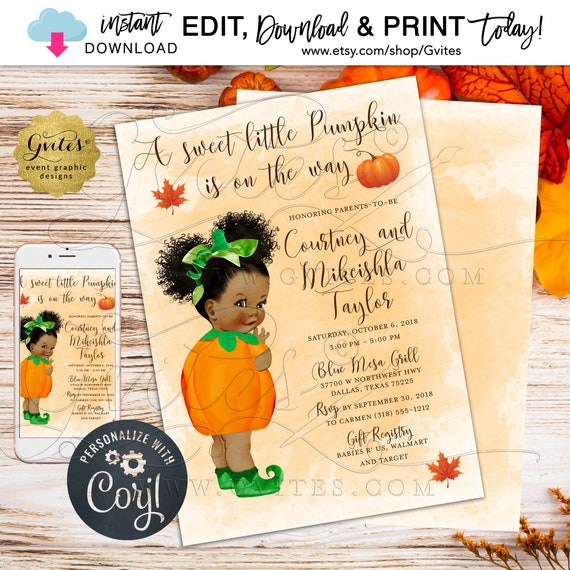 Pumpkin Baby Shower Invitation Afro Puffs Theme. Fall/Autumn Girl Vintage Theme. African American/Caucasian {Edit w/Corjl}
