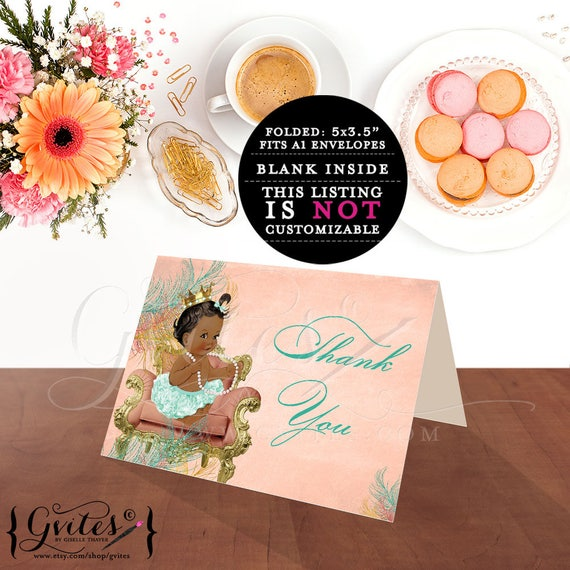 African American Princess Baby Thank You Cards / Ethnic Girl baby shower / Vintage Coral Mint Green Ruffle Pants Gold Crown Pearl Necklace