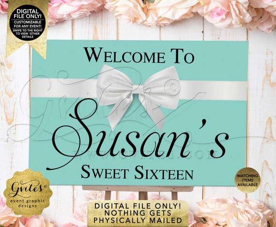 Blue Sweet Sixteen Welcome Sign | Breakfast Theme Decoration Entrance Poster Table Banner/Poster/Backdrop Digital JPG + PDF