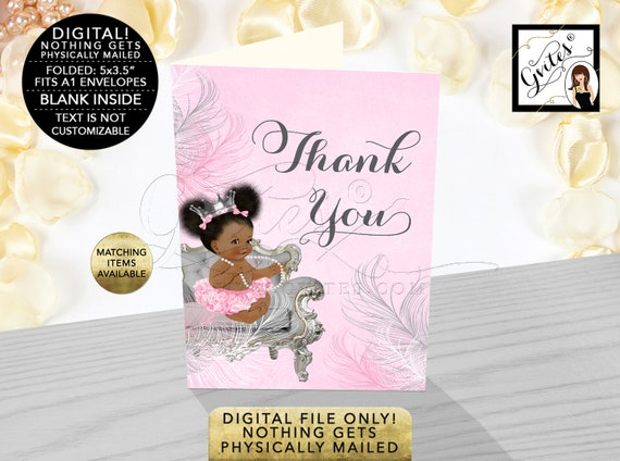"Pink & Silver Princess Afro Puff Thank You Cards Baby Shower {3.5x5"" 2 Per/ Sheet, Folded Cards/ Non-Personalized}"