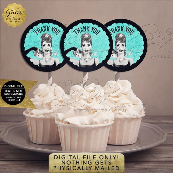 "Audrey Hepburn Cupcake Toppers | Breakfast Bridal Theme | Instant Download | JPG + PDF Format 2.25x2.25"" 12/Per Sheet"