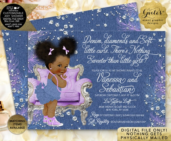 Denim Diamonds Lavender Baby Shower Printable Invitation/ Afro Puffs Baby Girl