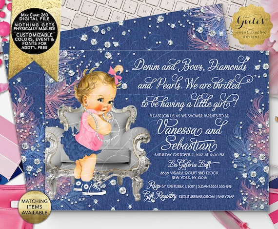 "Denim and Diamonds Baby Shower Invitations/ Vintage Baby Girl Silver Blue and Pink/ Digital File Only! 7x5"" Double Sided. DIY/ Printable."