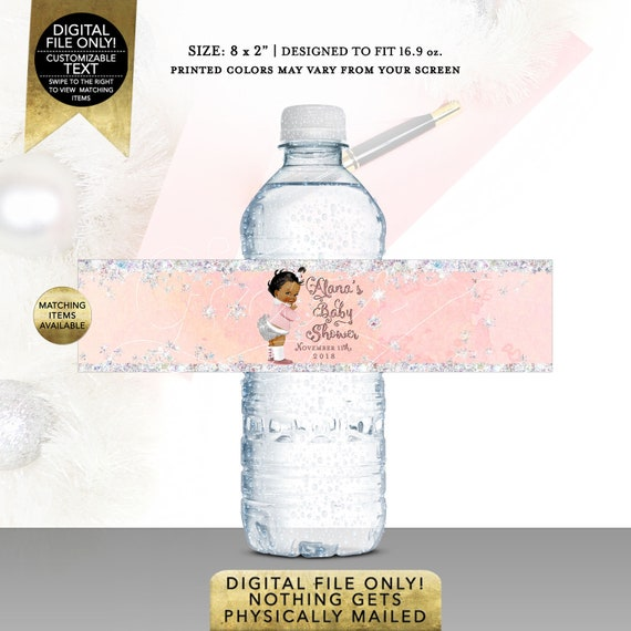 Water Labels Winter Wonderland Baby Shower Pink and Silver