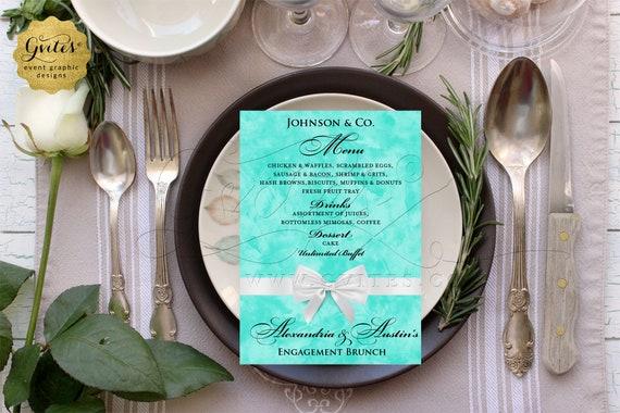"Menu Cards Engagement Brunch | Turquoise Blue/ Aqua/ Blush Pink/ Robin Egg Blue | Customizable Any Event | DIY JPG + PDF | 4x6"" 5x7 ""or 4x9"""