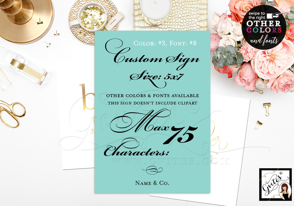 wedding custom signs bridal shower thank you cards dessert decoration cards customizable text colors and fonts 5x7 gvites