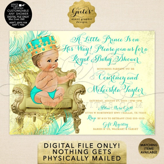 Mint Green & Gold Prince Baby Shower Invitation | A little prince is on his way | JPG + PDF 7x5"