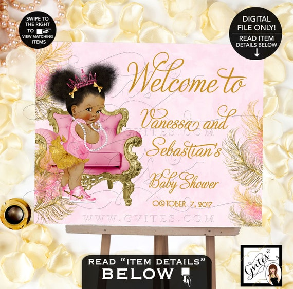 Pink Gold Welcome Sign / Afro Puffs Princess Decorations Baby Shower Baby Girl / African American Poster {Design: TIACH-110} By Gvites