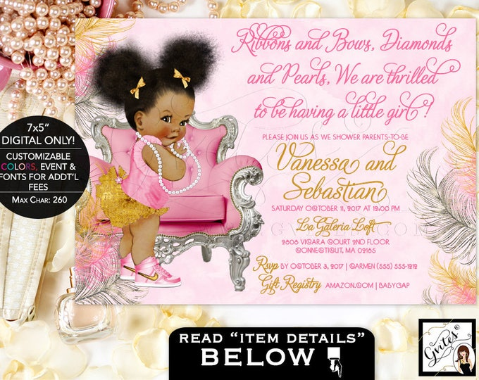 Pink Silver Baby Shower Invitation, baby girl invites, african american, ribbons bows diamonds pearls, Afro Puffs. Gvites {Pink/Silver/Gold}