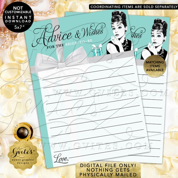 "Advice Cards Bridal Shower Well Wishes 5x7"" 2 Per Sheet 