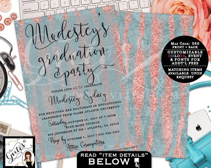 Graduation Rose Gold Invitation, Blue and Peach Invitations, Glitter Modern, Double Sided Printable, Digital FILE ONLY! Gvites. 5x7""