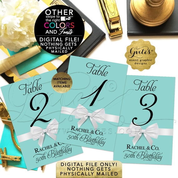 """50th Birthday Personalized Table Numbers. Turquoise/Robin Egg Blue and White Bow. Printable/DIY. 4x6"""" or 5x7"""""""